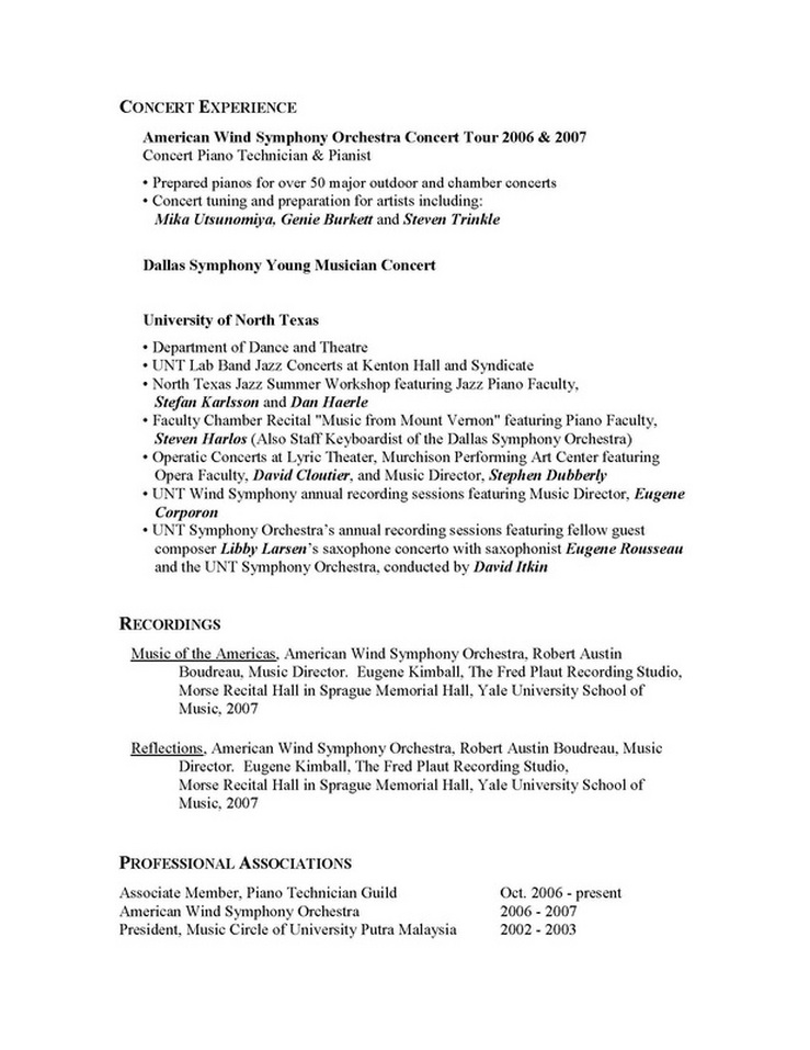 attractive pianist resume picture collection resume ideas